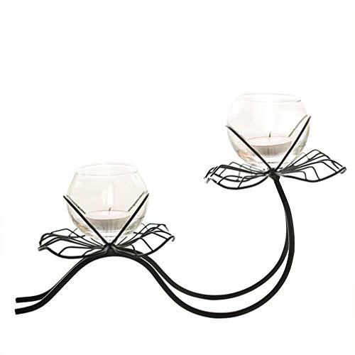 SUNLIFE Multifunktions Lotusblatt Glas kerzenhalter, europäischen Stil einfache schmiedeeisen kerzenständer für esstisch Dekoration, kultivieren grüne Pflanze blumenvase, schwarz -
