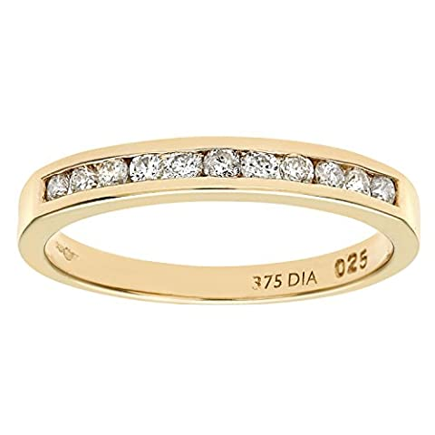 Naava 9 ct Yellow Gold Diamond Channel Set Eternity Women's
