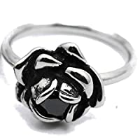 Retro Vintage Stainless Steel Rose Flower Cubic Zircon Statement Promise Anniversary Ring (Black, 6)