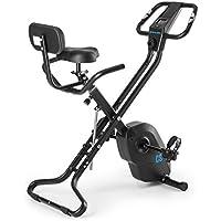 CAPITAL SPORTS Azura X2 • bicicleta fija • bicicleta estática de cardio • medidor de pulso • plegable • peso a rotar de 4 kg • 7 alturas • respaldo • ahorra espacio • máx. 120 kg • negro