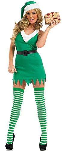 Damen 4 Stück Sexy Weihnachten Santa's Sexy Elfen Kostüm Kleid Outfit + Strümpfe UK 8-18 - Grün, Grün, 16-18