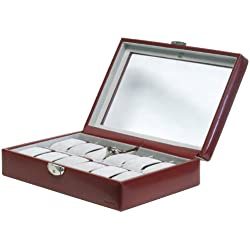 """Davidt's Unisex Watch Box For 12 Watches """"Chrome"""" 378812.14 Red"""