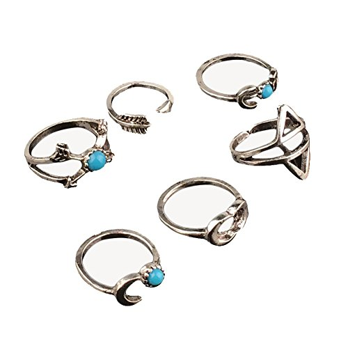 Cdet 6er Set Frauen Ring Türkis Retro Pfeil Mond Gelenk Knuckle Mid Ring-Set Lady Jewelry Accessories (Knuckle-ringe-pfeil)