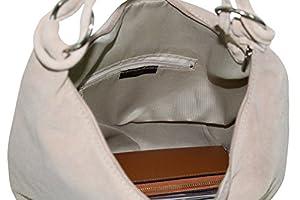 AMBRA Bolsa de mano para mujer, de piel de ante, Hobo-Bags, bolso de piel, bolsa de compras, DIN-A4 42 cm x 35 cm x 4 cm, WL803