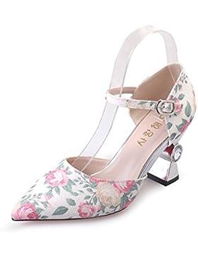 SHOESHAOGE In Primavera Ed Estate Con Scarpe Donna Grossolana Del Tacco Scarpe Donna Una Parola Fibbia Scarpe...