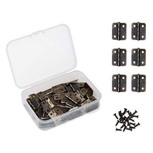 Juland 50 Stck Antike Bronze Mini-Scharniere Retro Scharniere mit Ersatzschrauben für Holzkiste Schmuck-Box Kabinett DIY Zubehör (18 x 16 mm) -