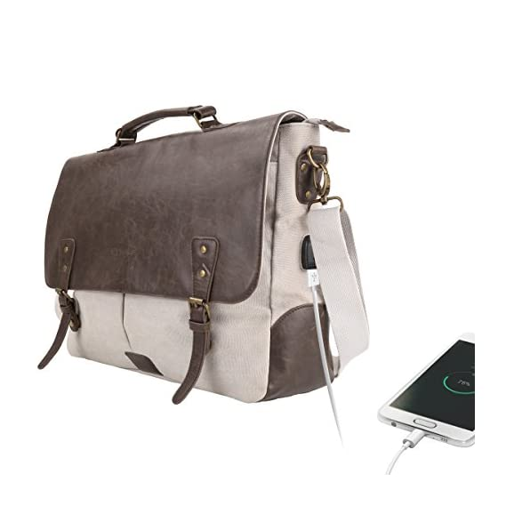 Portronics POR-826 Unisex Elements U, Leather Messengers cum Laptop Bag with an in-built USB 2.0 Charging Port, Carry up to 15.6