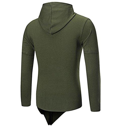 Amlaiworld Autunno Inverno Felpa con cappuccio manica lunga cappotto per uomo Verde militare