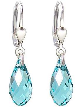 Schöner-SD, 925 Silber Ohrringe mit kleinen Kristallen von Swarovski® 13mm in funkelndem Briolett Schliff