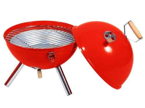 Barbecue rond rouge (Grill-19) à charbon , Corps acier finition époxy, pied chromé, poignée bois, Mini barbecue en acier verni ,idéal pour le jardin, sur une terrasse ou tout simplement pour un pique nique, 3 Aérations réglables pour maîtriser la caisson, légère facile à transporter et économise de la place grille en acier nickelé, BBQ pour une utilisation conviviale Pique-nique ou camping au parc