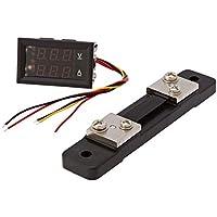 Drok YB27VA-50A - Voltímetro digital de doble pantalla, color negro