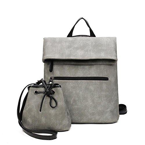 Mjhwsx Borsetta In pelle multifunzionale di grande capienza PU donne zaino borsa solido di colore Shoulder Bag Messenger Borsa set 2 pezzi , gray