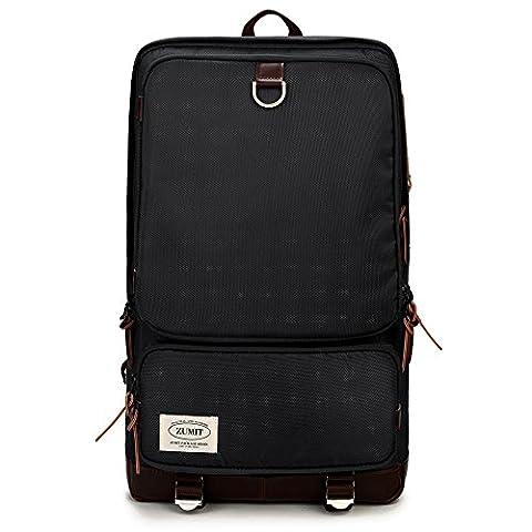 ZUMIT Laptop Backpack Rucksack Business Computer Notebook Shoulder Bag With YKK Zipper Black #801