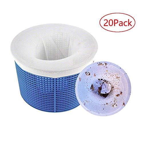 Kyerivs Pool Skimmer Socks Calze salvaschermo a Rete Ideali per filtrim,Calzini da Skimmer per Piscina, Durevole Elastico Nylon Tessuto Filtri di Nuoto di Piscine, Bianco (20 Pezzi)