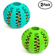 Dog Toys Balls (2 Pack) Rubber Durable Dog Ball Teeth Cleaning Chewing Tough Dog IQ Toys for Dog Teeth Cleaning/Chewing/Playing/Treat Dispensing