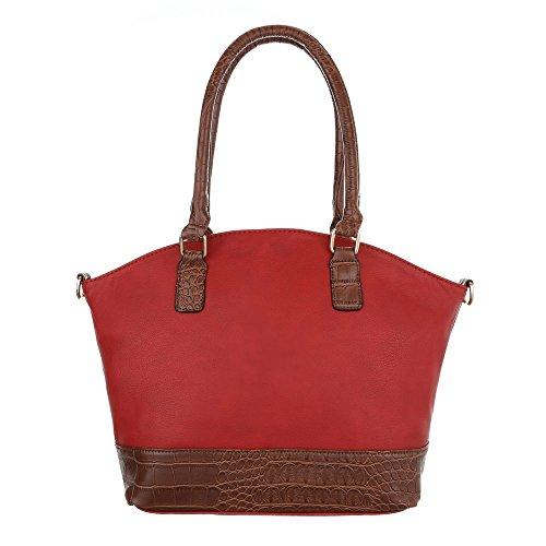 Damen Schultertasche Tragetasche Handtasche Schwarz Blau Grau Braun Rot Weiß Rot