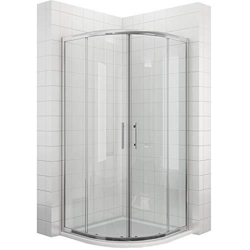 sunnyshowers Viertelkreis Duschkabine 90x90 Duschabtrennung mit Rahmen Runddusche Schiebetür Dusche Duschwand