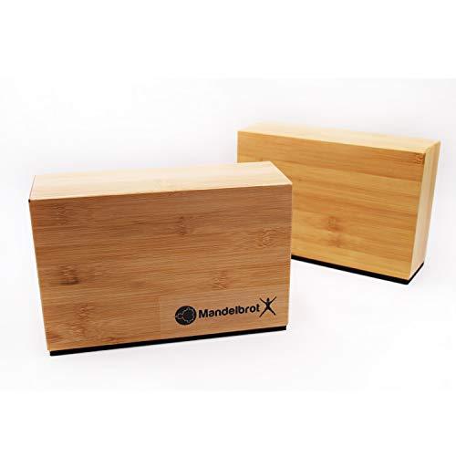 Mandelbrot X Bambus-Handständer-Blocks mit Rutschfester Gummi-Unterseite, 2 Stück, Stützsteine für Yoga, Pilates, und Gymnastikpositionen verbessern die Kraft, hilft Balance und Flexibilität Bambus-block