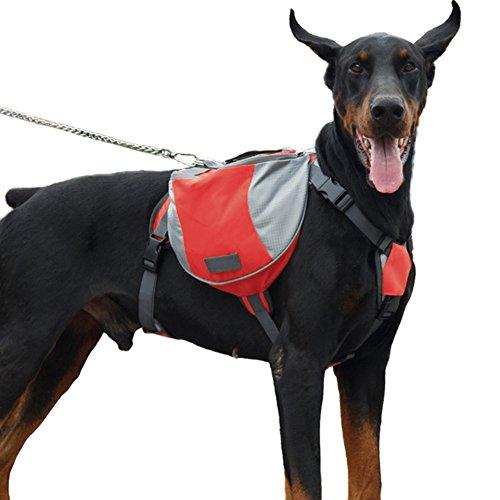 Hunderucksack Mittel und Gross Hunde Transporttasche für Reisen Camping Wandern Satteltasche Hundegeschirr Rucksack Rot L