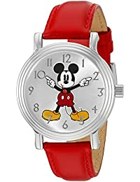 Disney Women's 'Mickey Mouse' Quartz Metal Automatic Watch, Color: Red (Model: W002758)