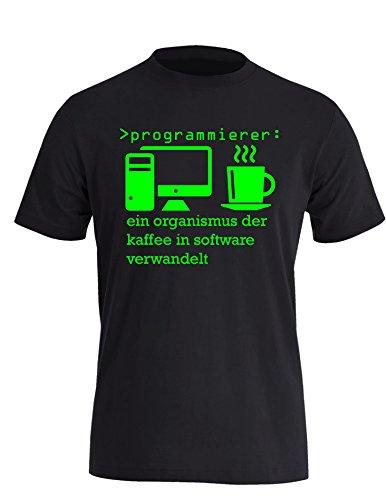 Programmierer - Ein Organismus der Kaffee in Software verwandelt! Perfektes Geschenk für Informatik Studenten - Herren Rundhals T-Shirt Schwarz/Neongruen