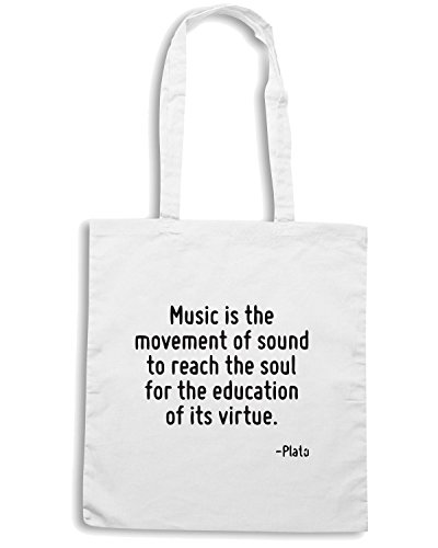 T-Shirtshock - Borsa Shopping CIT0163 Music is the movement of sound to reach the soul for the education of its virtue. Bianco