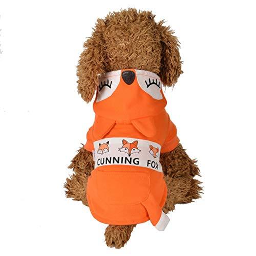 Smniao Haustier Kostüm Hunde Kleidung für Kleine Hund, Hunde Pullover Warm Winter Fuchs Stil Sweatshirt passt Hunde Gewicht unter 6KG (M, Orange)