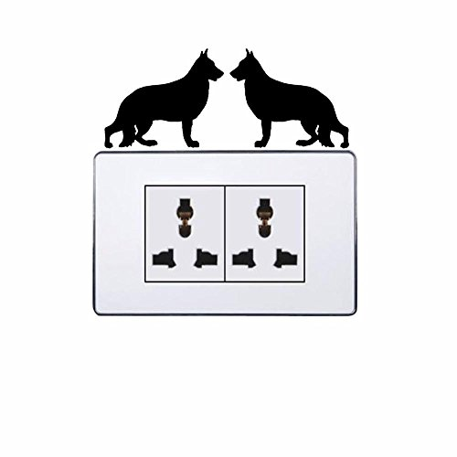Deutscher Schäferhund Rasse Cartoon Schalter Aufkleber Vinyl Einrichtung Kunst Aufkleber 2 SS 0180 (Rasse Schäferhund)