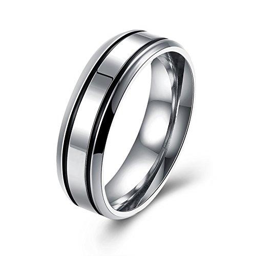 AMDXD Ehering Titan Breit 4MM/6MM Schwarz Doppelt Linie Silber Herrenring Größe 57 (18.1)