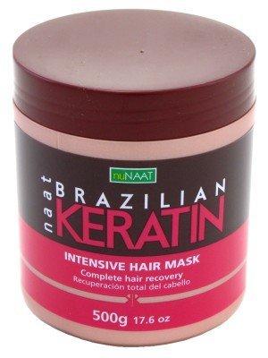 Masque capillaire Brazilian Keratin - Pour améliorer la brillance, la douceur et la robustesse des cheveux - Formule enrichie en kératine - Pot de 500 g