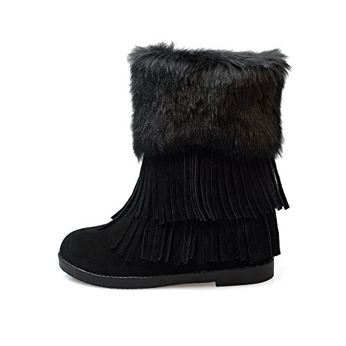 AllhqFashion Damen Niedriger Absatz Gemischte Farbe Mattglasbirne Ziehen auf Stiefel, Dunkelbraun, 41