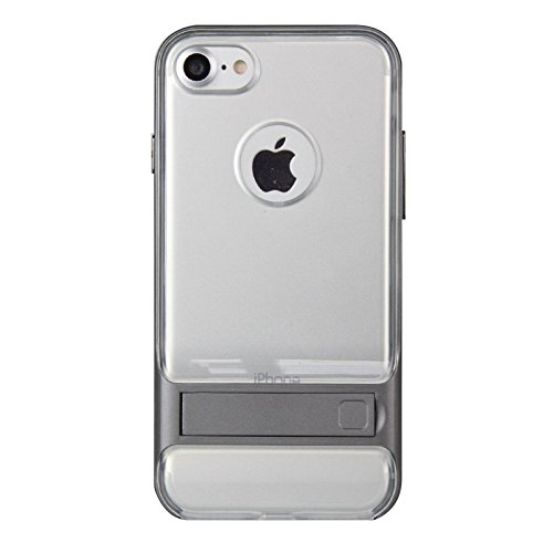 iPhone 7, iPhone 7, Trasparente Ultra Sottile Custodia Cover [Crystal Clear] KIO TPU trasparente Custodia in silicone Case con integrato Kick Stand per Apple Iphone 7 iPhone 7 bianco Grauer