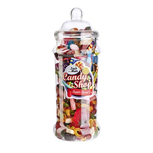 (Gigantisches Retro Jar mit 2,5l Pick'n'Mix Süßigkeiten – Beinhaltet 6 verschiedene Themen-Sticker für Geburtstage, Weihnachten, Wichteln, Dankeschön-Geschenke, Überraschungen und Geschenke!)