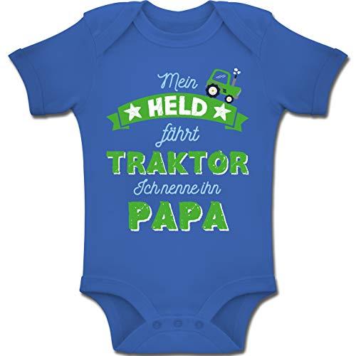 Vatertag Baby - Mein Held fährt Traktor Papa - 3-6 Monate - Royalblau - BZ10 - Baby Body Kurzarm Jungen Mädchen