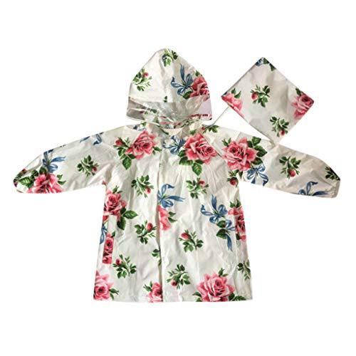 Kids Mädchen Blumenblumer Regenmantel Kinder Regenjacke Regen Regenponcho Regencape Regenbekleidung Cute Unisex Kleinkind Windbreaker Windjacke Kapuzenjacke Jacke Outwear (U Spiel Wii Einhorn)