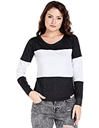 The Dry State Women's Cotton Grey Multi Panel Full Sleeves Tshirt