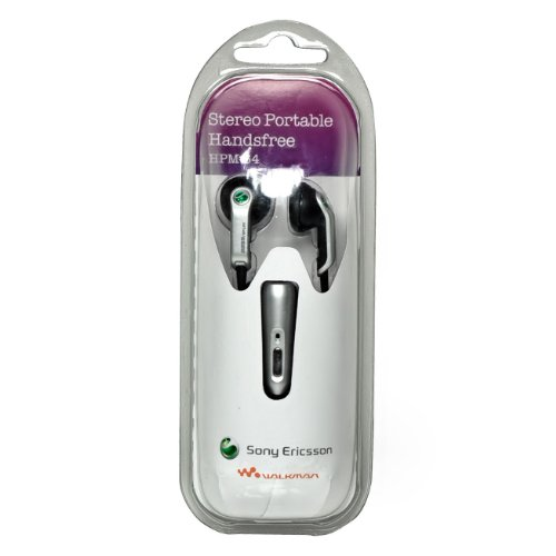 HPM-64 Original Verpackung Sony Ericsson Handy Stereo Headset in Silber - mit Rufannahme und Mikrofon für verschiedene Sony Ericsson Mobiltelefone (Sony P1i)