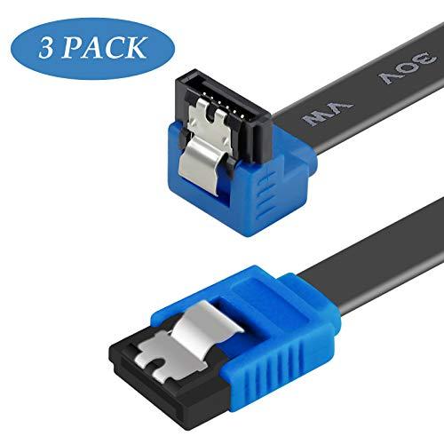Câble SATA III, Benfei Lot de 3Câble SATA III 6GB/s à 90degrés à Angle Droit Loquet de Verrouillage, SSD, Disque Dur SATA de 45,7cm, CD Pilote, graveur de CD
