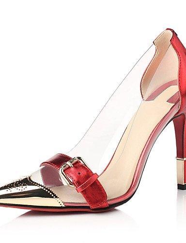 ShangYi Damenschuhe - High Heels - Kleid / Party & Festivität - Leder - Stöckelabsatz - Spitzschuh - Schwarz / Rot / Gold Red