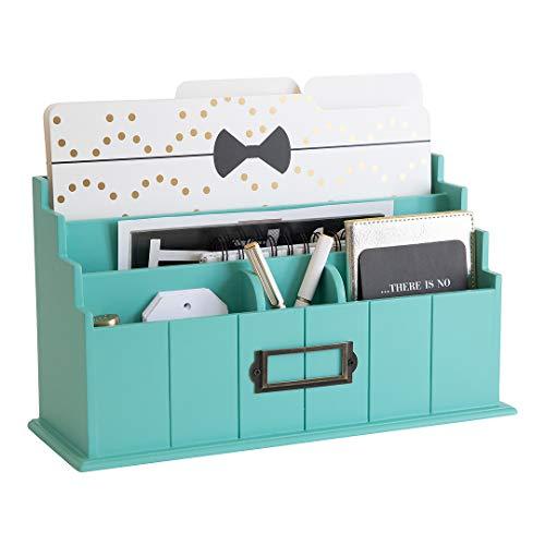 Blu Monaco Brief-Organizer aus Holz - 3 Etagen in Blaugrün - rustikaler Landbriefsortierer - Küchenzähler Organizer Briefhalter