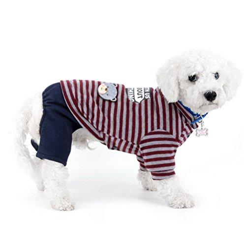 zunea Kleiner Hund Schneeanzug Fleece gefüttert gestreift Bär Jumpsuit four-legs Hose Winter Jacke Super Warm Puppy Katze Hund Chihuahua Kleidung Apparel Outfits kaltem Wetter Coats (Down Beste Jacke)