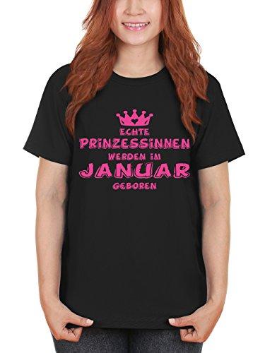 clothinx Damen T-Shirt Prinzessinnen werden im Januar geboren Schwarz