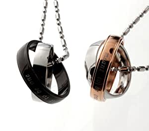 Lovers /Couple Tutone Meant To Be One Stainless Steel Ring Pendant Necklace