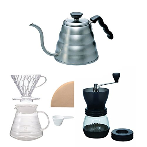 Hario V60 Kettle, Brewer Set & Coffee Mill - Three Products All Sold Together