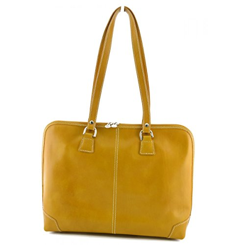 Porta Documenti Donna In Vera Pelle 1 Scomparto Colore Giallo - Pelletteria Toscana Made In Italy - Business