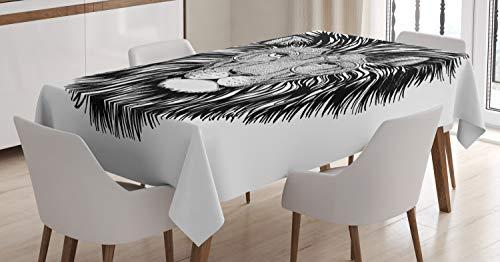 ABAKUHAUS Indie Tischdecke, Wilde Hipster Lion Brille, Für den Inn und Outdoor Bereich geeignet Waschbar Druck Klar Kein Verblassen, 140 x 170 cm, Weiß und Schwarz