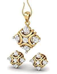 American Diamond And Fashion Jewelry Gold Plated Floral Design Pendant Set For Girls And Women