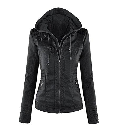 COCO clothing Mode Damen Reverskragen JackeVolltonfarbe Langarm Kapuzenjacke Reißverschluss Lederjacke Winddicht Warme Sportjacke Outdoor...