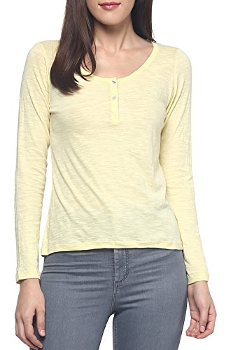 9Zeus Full Sleeves / Long Sleeves Round Neck Yellow T-shirt for Women  available at amazon for Rs.299
