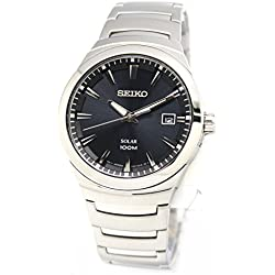 Seiko SNE291P1 - Grey Solar Analog - Watch Men - Automatic - black dial - Steel Bracelet